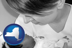 new-york an adopted baby with its adoptive mother
